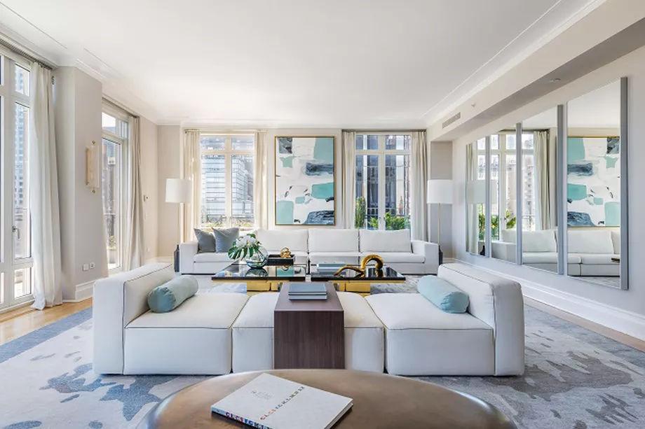 Living Room in $65-Million Dollar New York City Penthouse of Dr Lindsay Rosenwald